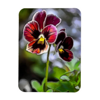 Bordeaux Pansy Flower Duo Magnet