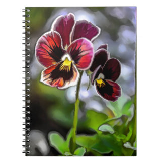 Bordeaux Pansy Flower Duo Spiral Notebook