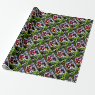 Bordeaux Pansy Flower Duo Wrapping Paper