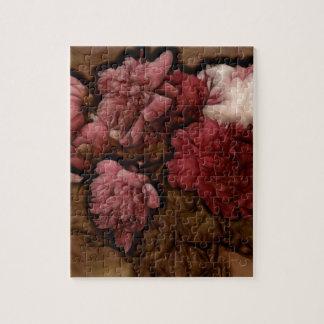 Bordeaux Peony Flower Bouquet Jigsaw Puzzle