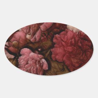 Bordeaux Peony Flower Bouquet Oval Sticker