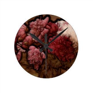 Bordeaux Peony Flower Bouquet Round Clock