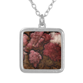 Bordeaux Peony Flower Bouquet Silver Plated Necklace