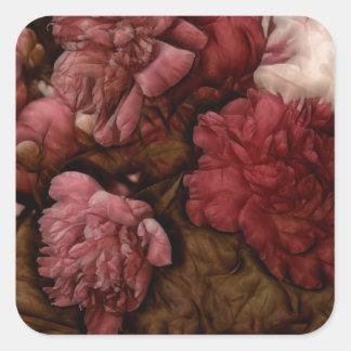 Bordeaux Peony Flower Bouquet Square Sticker