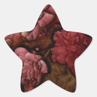 Bordeaux Peony Flower Bouquet Star Sticker