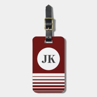 Bordeaux red luggage tag | customizable monogram