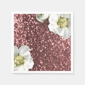 Bordeaux Rose Pink Sparkly Jasmine Glitter Sequin Paper Napkin