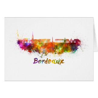 Bordeaux skyline in watercolor card