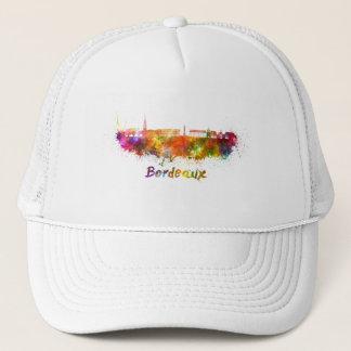 Bordeaux skyline in watercolor trucker hat