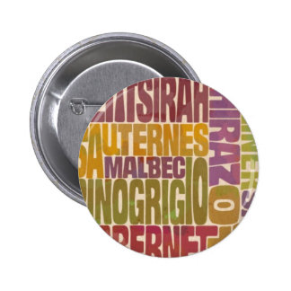 Bordeaux Wine Word Bottle 2 Inch Round Button