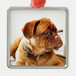 Bordeauxdog Silver-Colored Square Ornament