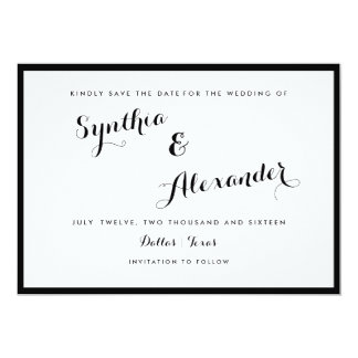 "Border Black And White Modern Save The Date 5"" X 7"" Invitation Card"