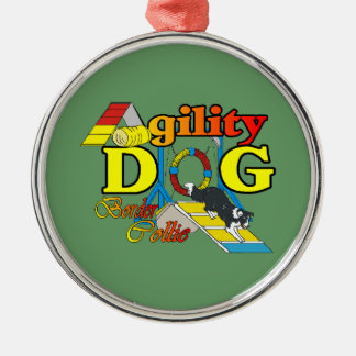 Border Collie Agility Metal Ornament
