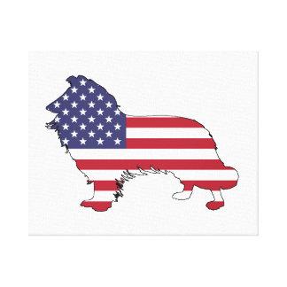 "Border collie - ""american flag"" canvas print"