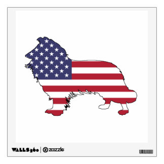 """Border collie - """"american flag"""" wall decal"""