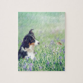 Border Collie and Hummingbird Jigsaw Puzzle