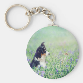 Border Collie and Hummingbird Keychain