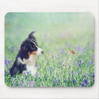 Border Collie and Hummingbird Mouse Pad