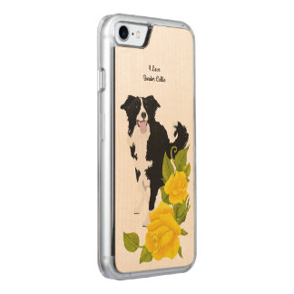 Border Collie and Yellow Roses Carved iPhone 7 Case