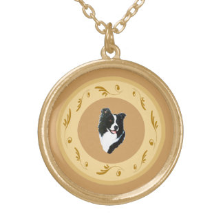 Border Collie and Yellow Roses Gold Plated Necklace