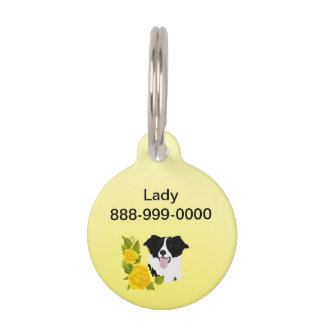 Border Collie and Yellow Roses Pet Name Tags