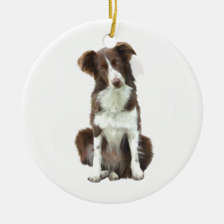 Border Collie (B) - brown and white Ceramic Ornament