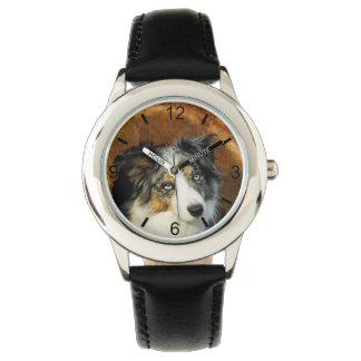 Border Collie Blue Merle Dog Head Pet - dial-plate Watch