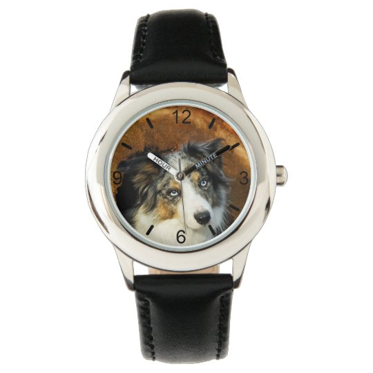 Border Collie Blue Merle Dog Head Pet - dial-plate Watch