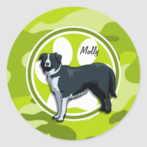 Border Collie; bright green camo, camouflage Round Stickers
