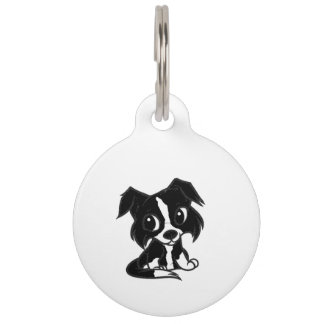 border collie bw cartoon pet tag