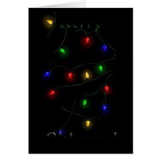 Border Collie Christmas Lights Card