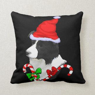 Border Collie Christmas Throw Pillow