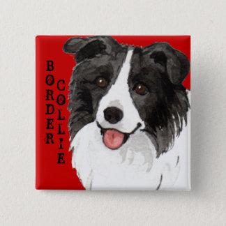 Border Collie Color Block 2 Inch Square Button