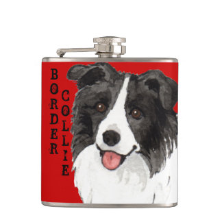 Border Collie Color Block Hip Flask
