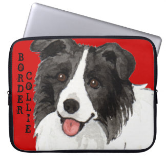 Border Collie Color Block Laptop Computer Sleeves