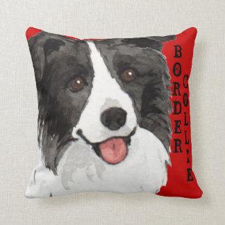 Border Collie Color Block Throw Pillow