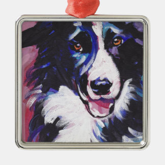 Border Collie Colorful Pop Dog Art Metal Ornament