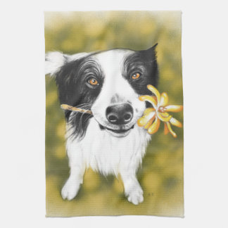 Border collie cutie kitchen towel