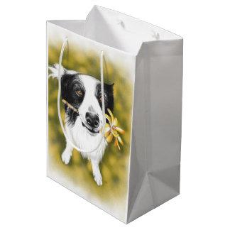 Border collie cutie medium gift bag