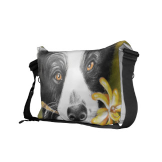 Border collie cutie messenger bag