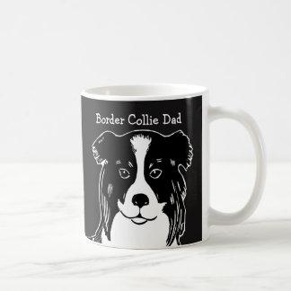 Border Collie Dad Black and White Mug