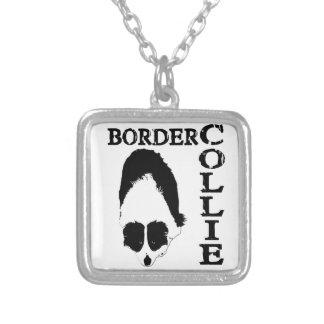 Border Collie Deep Thoughts Silver Plated Necklace