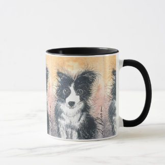 Border Collie dog, black handled mug