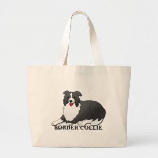 Border Collie Dog Cartoon Large Tote Bag