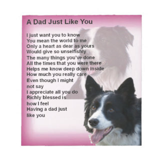 Border Collie Dog -  Dad Poem Notepad