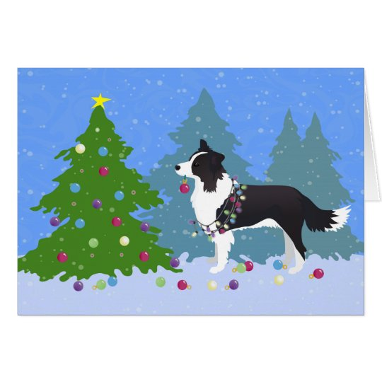 Border Collie Dog Decorating Christmas Tree Card