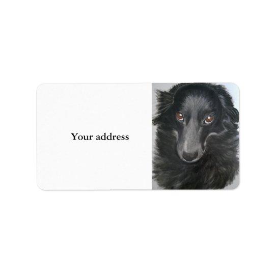border collie dog face label