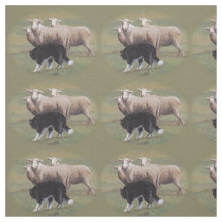 Border Collie Dog Herding Sheep Fabric