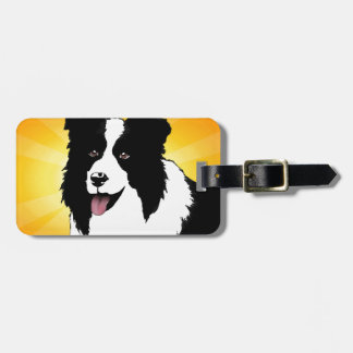 Border Collie Dog Pop Art Pet  Bright Customize Luggage Tag