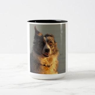 Border Collie Dog Running Two Tone Mug